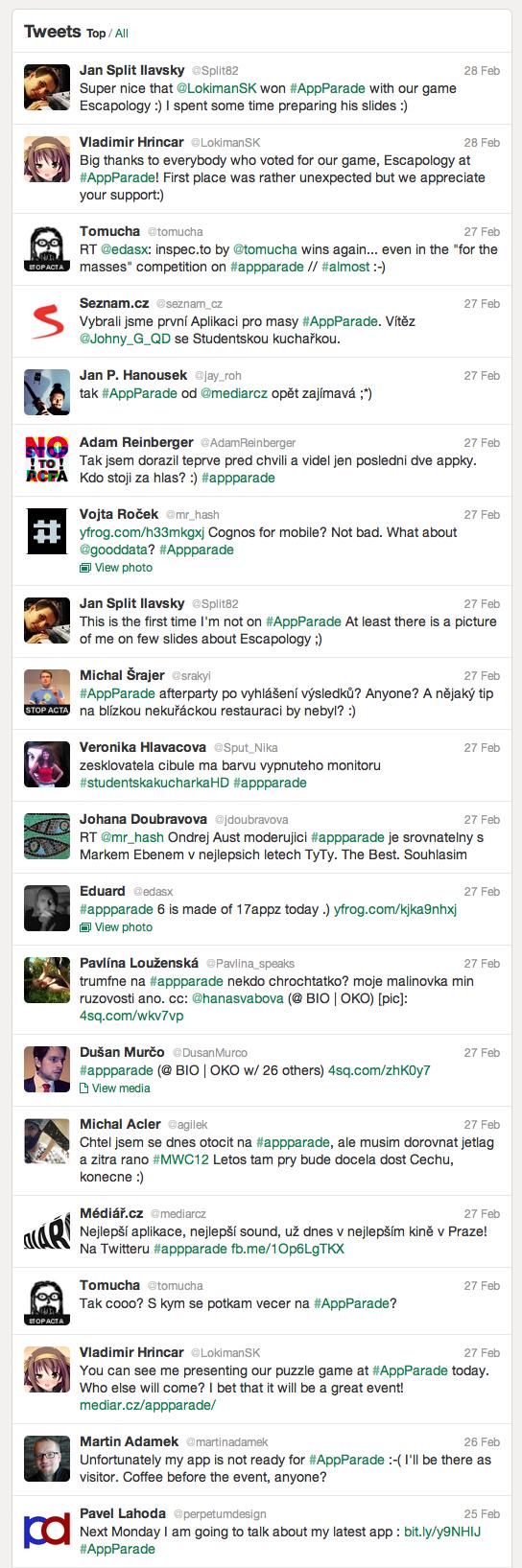 Šestá AppParade na Twitteru