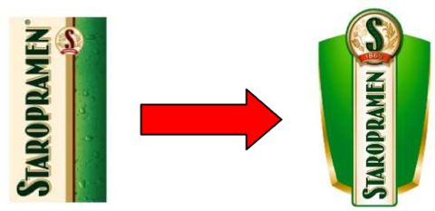 Logo Staropramenu v únoru 2006 a v únoru 2012