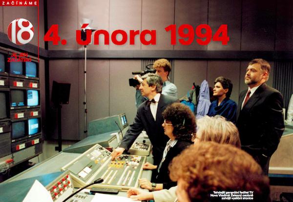 Tehdejší generální ředitel Vladimír Železný zahajuje vysílání televize Nova. Repro: TV Nova