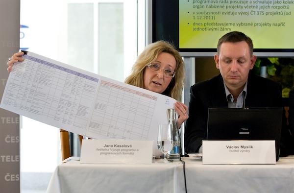 Jana Kasalová ukazuje programové náměty, Václav Myslík. Foto: ČT
