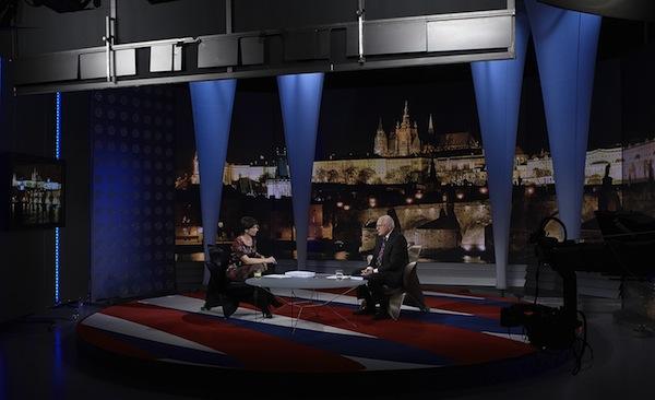 Televize Nova přichystala prezidentovi tradičně velkolepou scénu. Foto: TV Nova