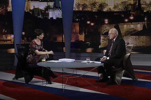 Moderátorka Markéta Fialová a prezident Václav Klaus. Foto: TV Nova