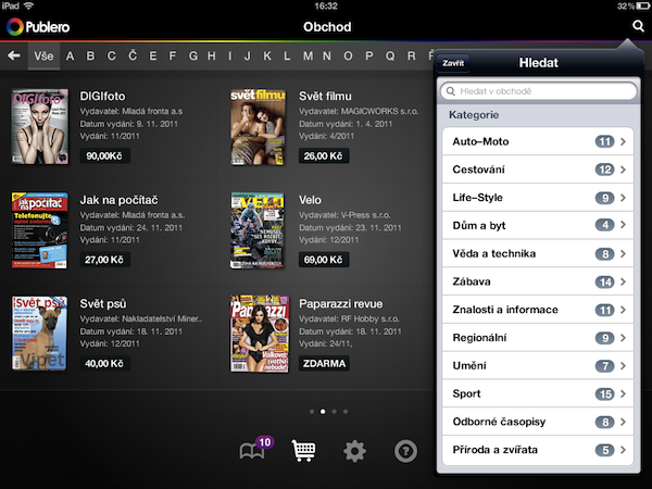 Aplikace Publero pro iPad