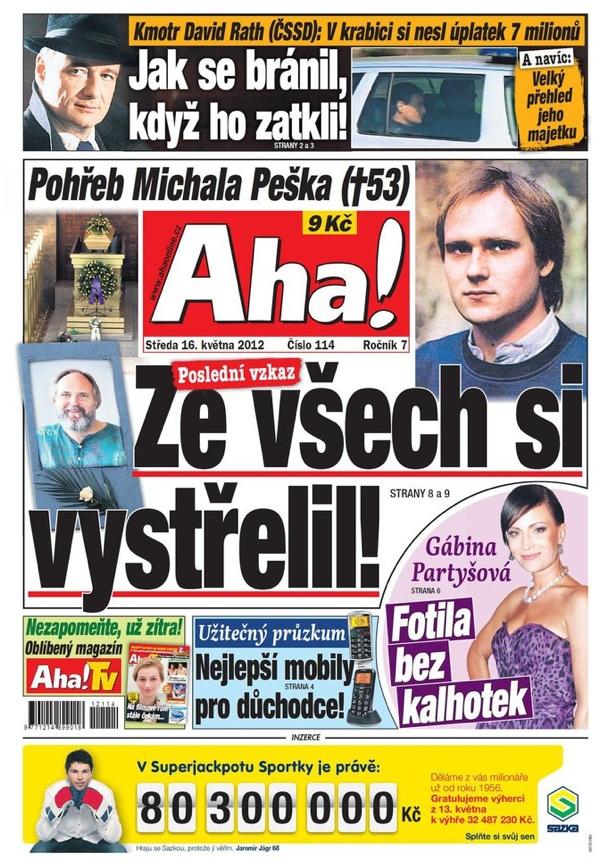 Titulní strana Aha! ze 16. května