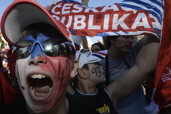 Český bronz slavili fanoušci na náměstích. Foto: ČTK/Šulová Kateřina