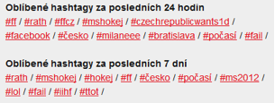 Oblíbené hashtagy
