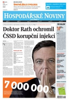 Titulní strana Hospodářských novin ze 16. května
