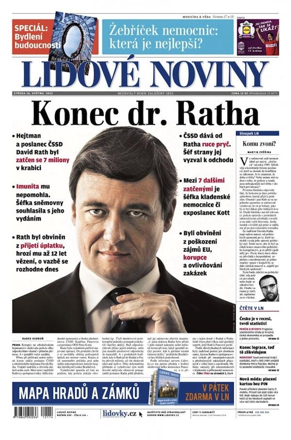Titulní strana Lidových novin ze 16. května
