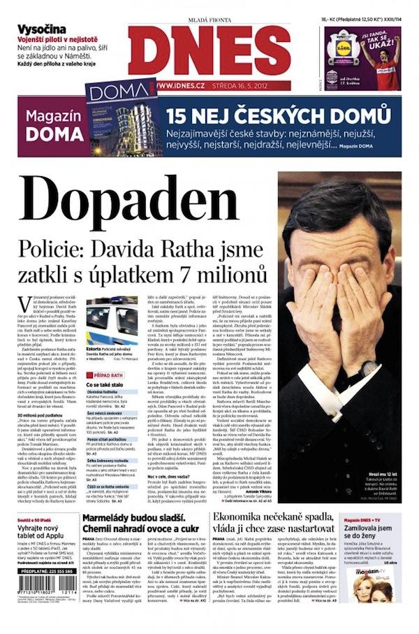 Titulní strana MF Dnes ze 16. května