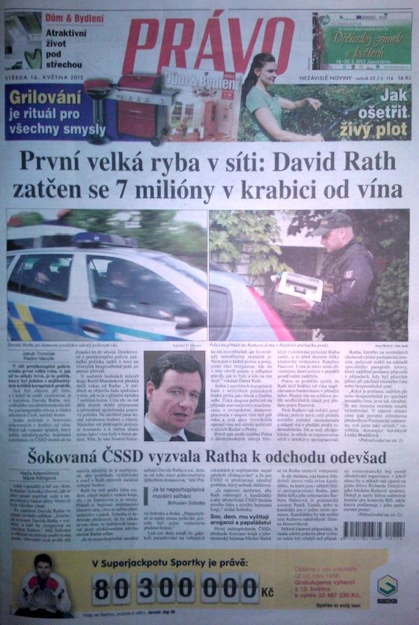 Titulní strana Práva ze 16. května