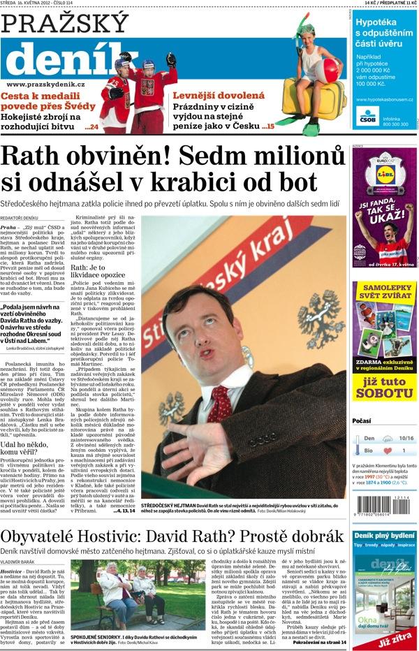 Titulní strana Pražského deníku ze 16. května