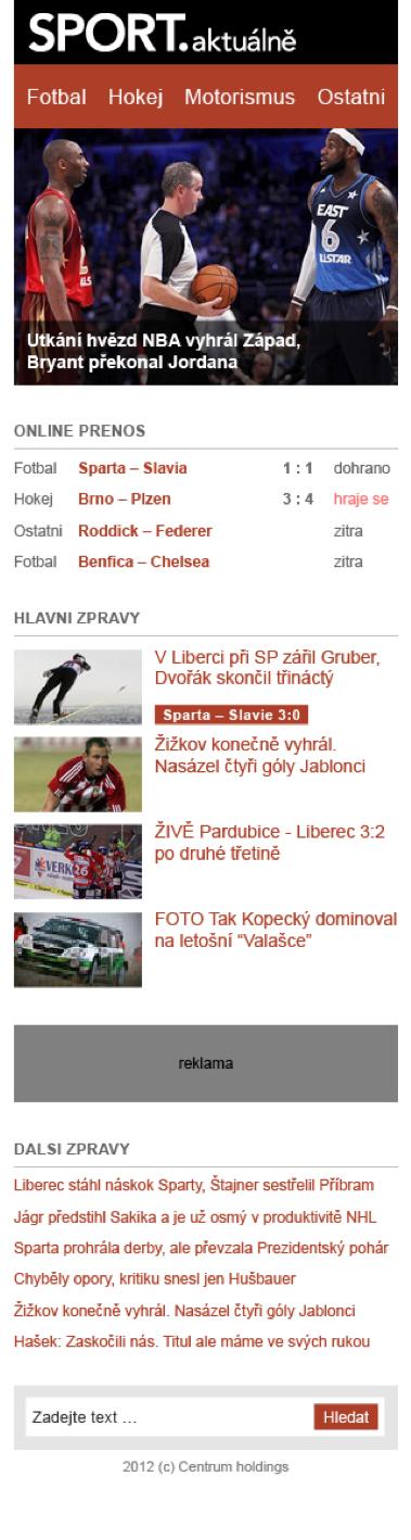 Sport Aktuálně.cz pro mobil. Kliknutím zvětšíte