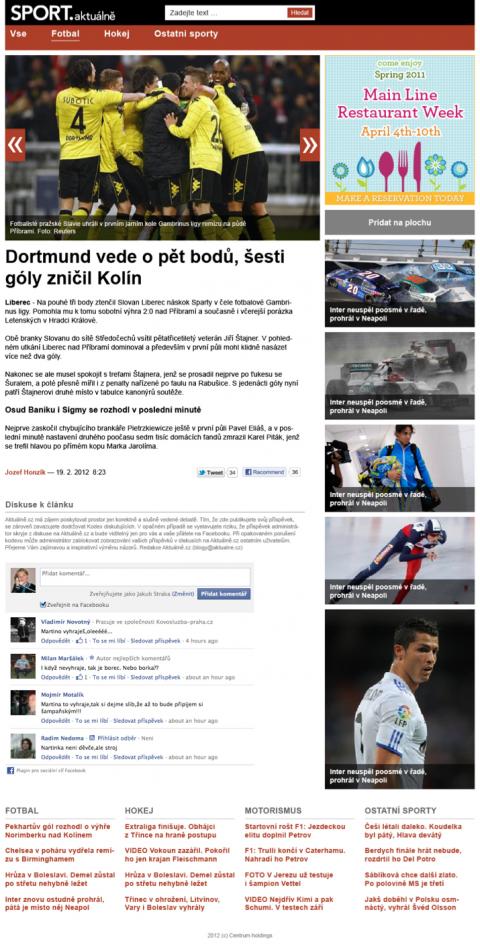 Sport Aktuálně.cz pro tablet. Kliknutím zvětšíte