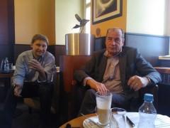 Lubor Zoufal a Michel Fleischmann na setkání s novináři v Costa Coffee na Můstku