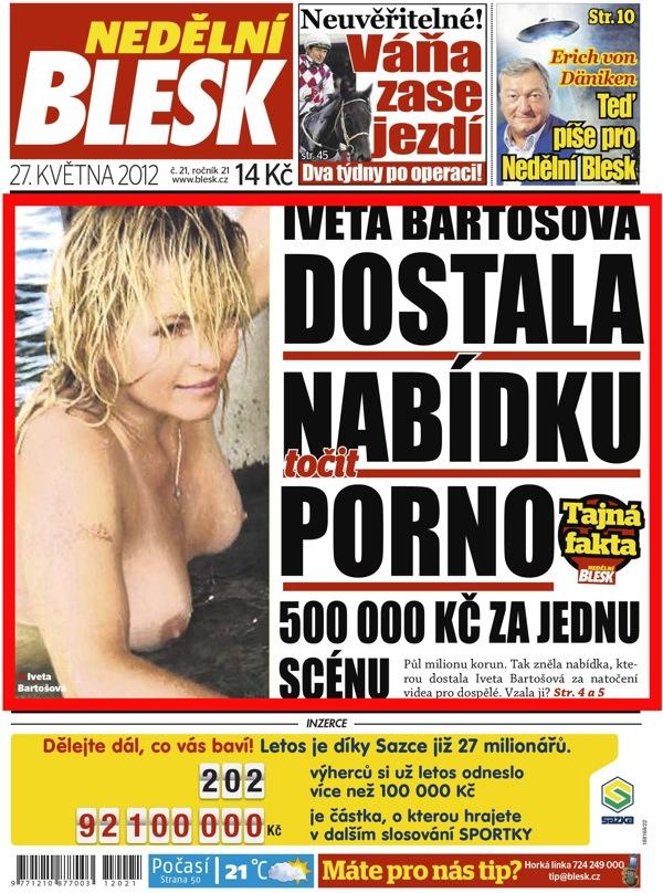 Titulní strana Blesku v neděli 27. 5. 2012