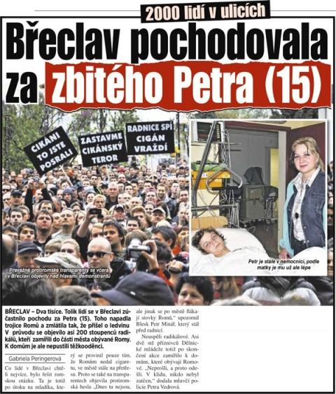 Blesk: Břeclav pochodovala za zbitého Petra