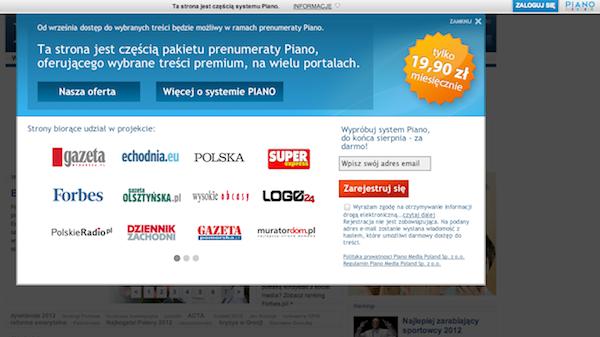 Uživatelé polského internetu se ode dneška na 42 webech setkávají s informacemi o zpoplatnění