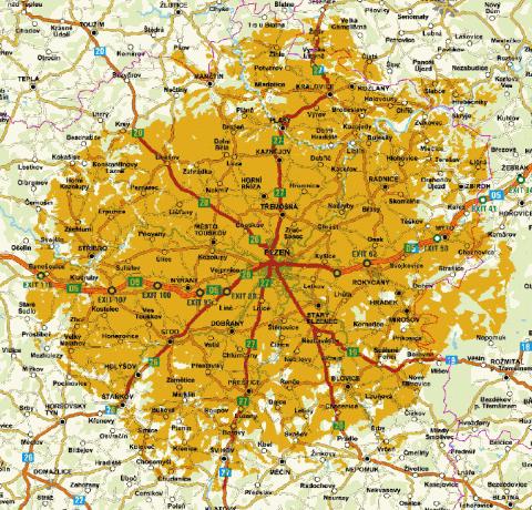 Pokrytí testu DVB-T2 z vysílače Plzeň-Krkavec