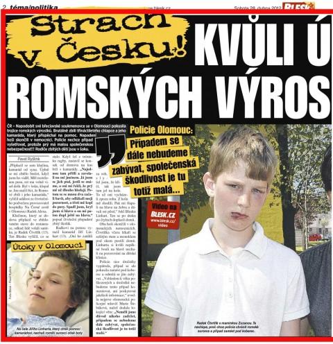 Blesk: Strach v Česku: Kvůli útokům romských výrostků na děti