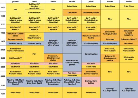 Podzimní programové schéma kanálu Fanda. Kliknutím zvětšíte