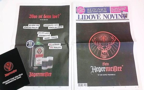 Inzerce Jägermeisteru v Lidových novinách