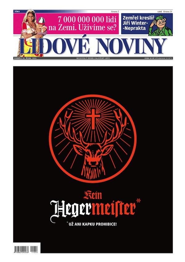 Inzerce Jägermeisteru na titulní straně LN
