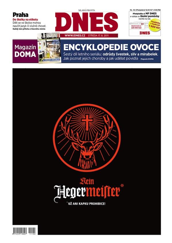 Inzerce Jägermeisteru na titulní straně MF Dnes