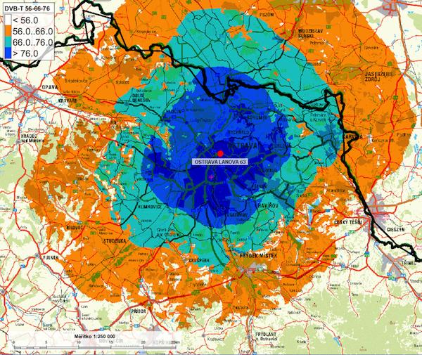 Dosah vysílače Ostrava-Lanová