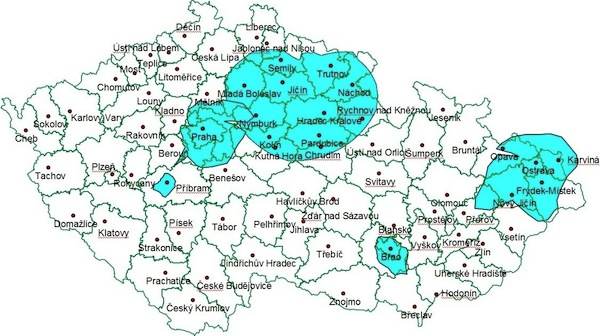 Pokrytí České republiky signálem digitálního rozhlasu firmy Teleko