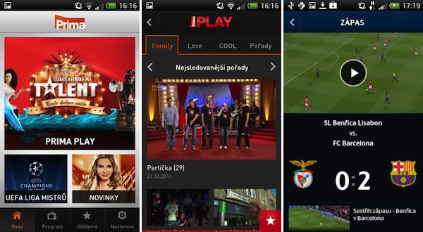 Aplikace televize Prima pro mobily s Androidem. Repro: Google Play