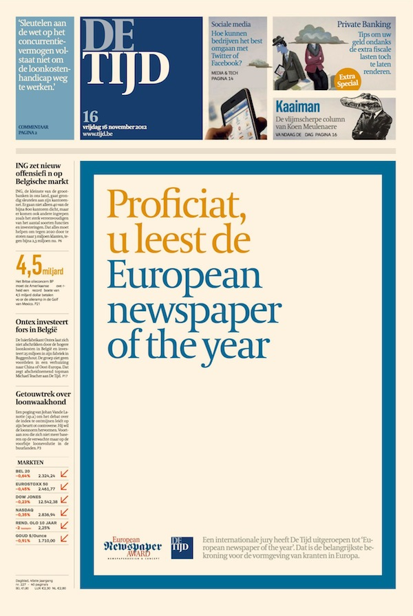 Vítězný belgický deník De Tijd