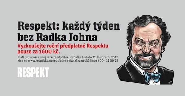 Upoutávka Respektu na předplatné, s kresbou Pavla Reisenauera. Repro: facebook.com/tydenikrespekt