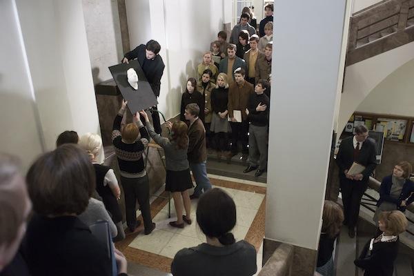 V budově filozofické fakulty odhalili Palachovu posmrtnou masku. Foto: HBO