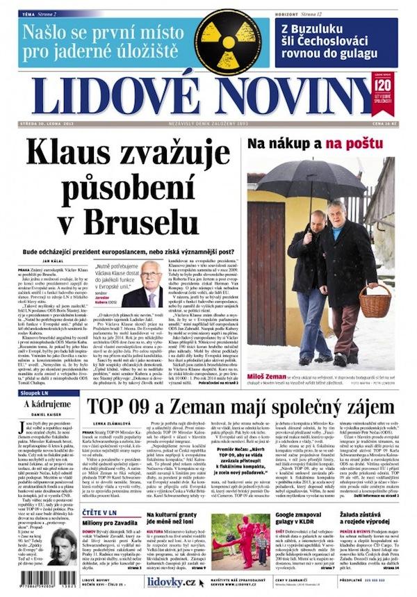 Titulní strana Lidových novin z 30. ledna 2013