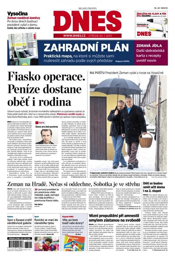 Titulní strana Mladé fronty Dnes z 30. ledna 2013