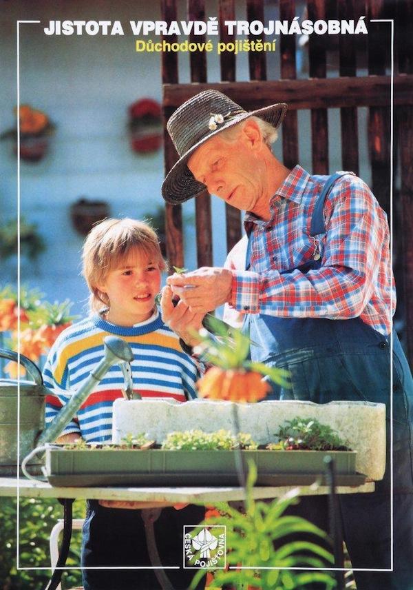 Plakát Důchod – 90. léta, předmětem je důchodové pojištění.