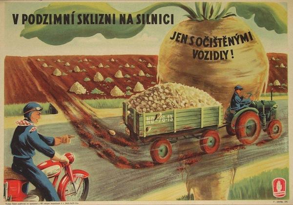 Podzimní sklizeň. Počátek 50. let, ještě nebyla dokončena kolektivizace zemědělské výroby, předmětem je pojištění zemědělců.