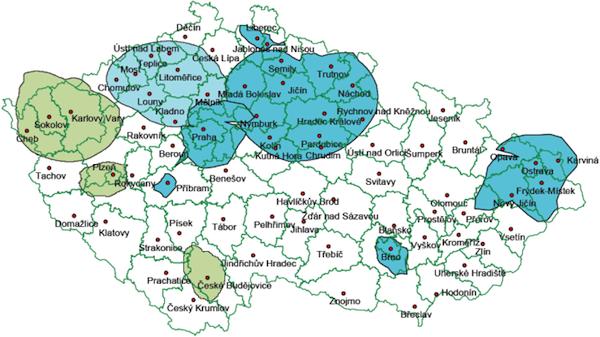Pokrytí ČR signálem digitálního rozhlasu. Modře multiplex firmy Teleko, zeleně RTI cz. Zdroj: Český rozhlas