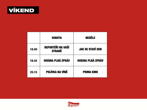 Programové schéma víkendů na Prima Family pro jaro 2013