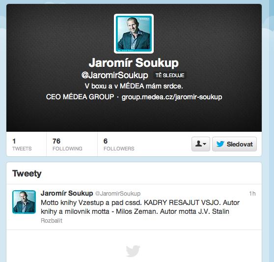 Screenshot účtu @JaromirSoukup, pořízený 8. ledna 2013