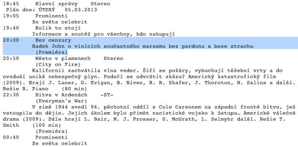 Programový plán Barrandova s pravopisnou chybkou