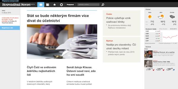 Aplikace Hospodářských novin pro čtení na počítači