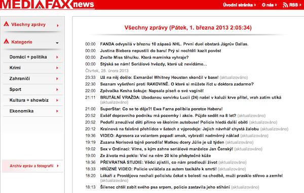 Nabídka Mediafax News ráno 1. března