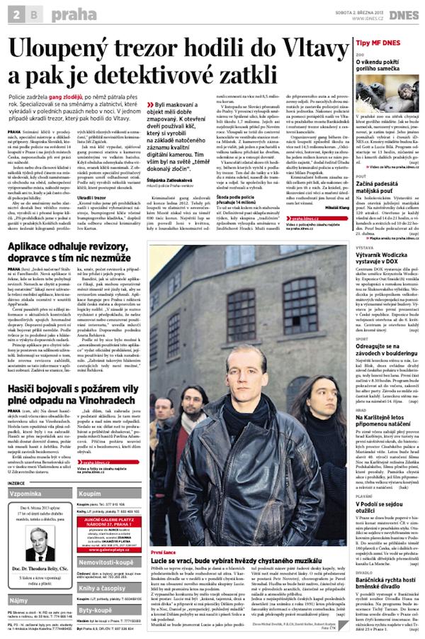 FareBandit v sobotním pražském vydání MF Dnes
