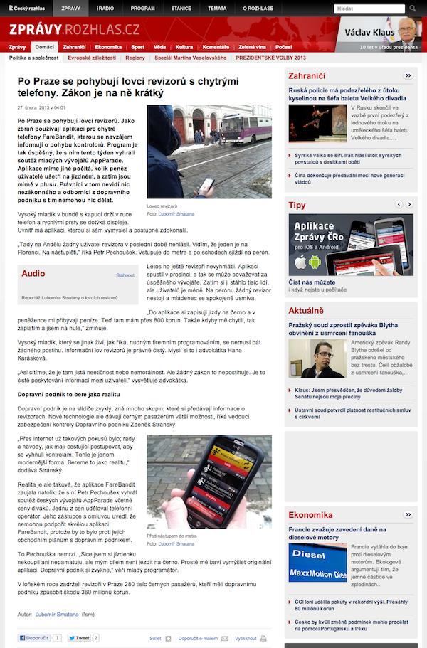 Český rozhlas o aplikaci FareBandit, vítězi desáté AppParade