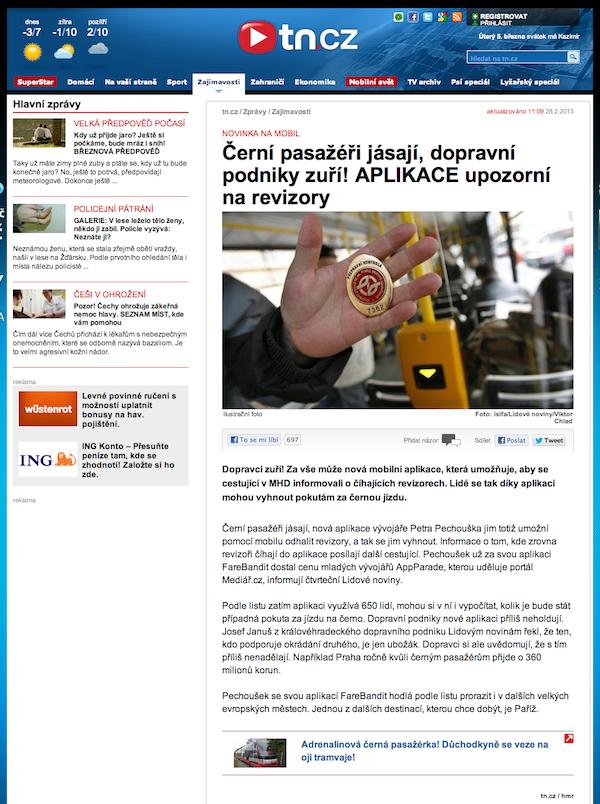 Tn.cz o aplikaci FareBandit, vítězi desáté AppParade