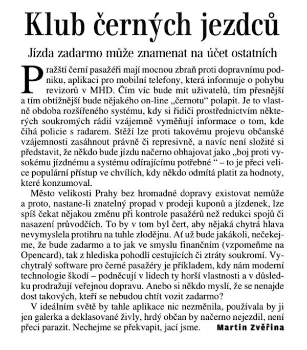 Poznámka Martina Zvěřiny v Lidových novinách z 28. února
