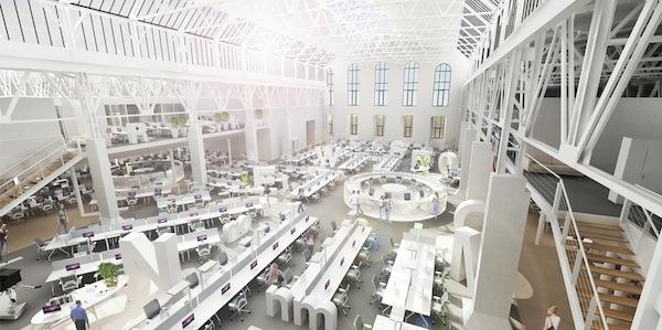 Nový newsroom Economie v pražském Karlíně. Vizualizace: Economia/Ateliér Kunc