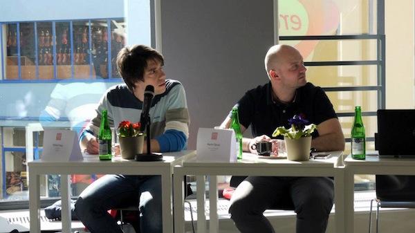 Prezident poroty kategorie Cyber Robert Haas ze Symbia (vlevo) a Martin Šámal ze Seznamu. Foto: Jan Marcinek