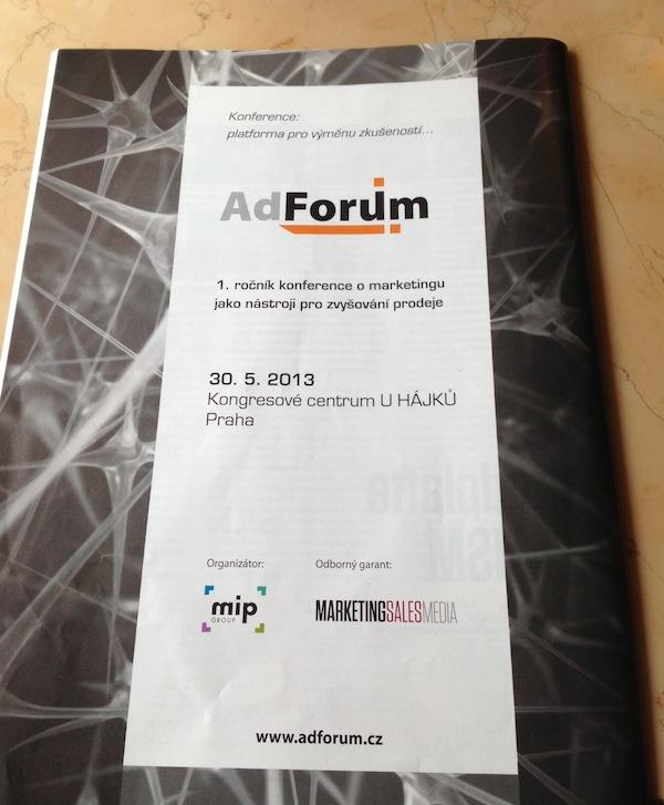 Inzerát na AdForum na poslední straně nového týdeníku MarketingSalesMedia